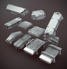 ArtStation - kit-bash, Nick Govacko structural elements: free kitbash models