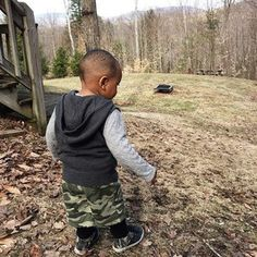 Snuck away to the mountains some family time and fresh air this weekend. This morning we explored the yard. #MrToddler discovered sticks, real mud, maybe a snake & definitely the mountains.  #momlife  #lgbtfamily  #fostercare