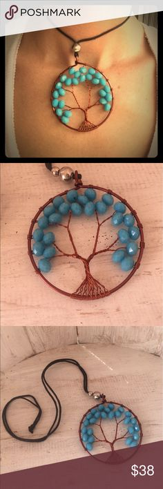 Gorgeous wire wrap tree of life baby blue Gorgeous new design for festival season 2017! Beautiful handcrafted faceted crystal beads strung from hand wrapped copper wire to form our new tree of life design in a unique style. Sliding bead from hemp makes this piece adjustable and perfect for layering. A beautiful festival bohemian piece! handmade Jewelry Necklaces