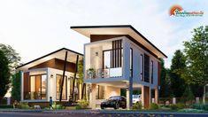 แบบบ้านโมเดิร์นชั้นครึ่ง 3 ห้องนอน 2 ห้องน้ำ สวยทันสมัย อบอุ่นน่าอยู่ - ที่นี่มีสาระ House Front Design, Cool House Designs, Modern House Design, Beautiful House Plans, Model House Plan, Modern Bungalow House, Rest House, Small Modern Home, Contemporary House Plans
