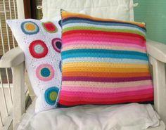 funda cojín rayas multicolor hilo de algodón 100%,tela algodón 100%,botones ganchillo