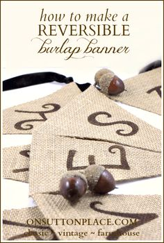 Easy tutorial to make a reversible burlap banner that requires no sewing! Use Wonder Under between layers of burlap - this will help in the fraying edge also! Burlap Projects, Burlap Crafts, Diy Craft Projects, Craft Ideas, Burlap Decorations, Diy Ideas, Wedding Decorations, Decor Ideas, Fall Crafts