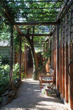 modern landscape by Princeton Design Collaborative - wood and metal arbor