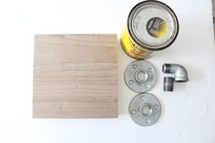 How to Make Mini Industrial Pipe Shelves | eHow 2-inch-by-8-inch-by-6-foot wooden plank Circular saw   Tape measure Miter saw Power drill 3/4-inch flange, 2   3/4-inch steel pipe nipple connector 3/4-inch elbow 1 1/2-inch screws, 8 (per shelf)  Drywall anchors (optional) Wood stain or paint (optional)   Read more : http://www.ehow.com/how_12341021_make-mini-industrial-pipe-shelves.html