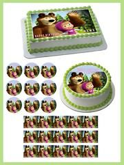 Masha and the Bear 1 Edible Birthday Cake Topper OR Cupcake Topper, Decor