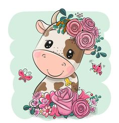 Cartoon Cow, Cute Cartoon Animals, Tole Painting, Painting On Wood, Cow Illustration, Cute Easy Drawings, Illustrations And Posters, Green Backgrounds, Cute Stickers