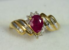 Ruby and Diamond cluster ring 10K gold size6