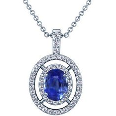 Platinum Oval Cut Blue Sapphire And Round Diamond Pendant GemsNY. $3708.00. Save 50%!