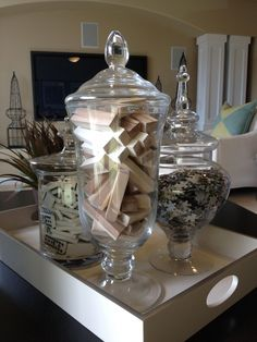 Garage Man Cave DIY - Dominos, Jenga and puzzle pieces in apothecary jars in pl. Garage Man Cave DIY – Dominos, Jenga and puzzle pieces in apothecary jars in play room!