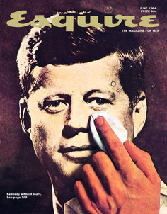 George Lois's Kennedy cover is a very interesting picture because of they way its presented. you  have JFK's face in a magazine which is pretty good by it's self, but then you have someone doing his make up as if it was an early version of photoshop. but over its a pretty good piece overall