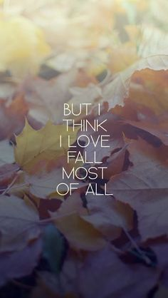 But I think I love fall the most of all. I don't think it!