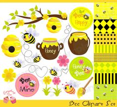 Bee Clipart Set by 1EverythingNice on Etsy