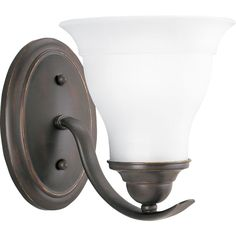 View the Progress Lighting P3190 Trinity Single-Light Bathroom Sconce with Etched Glass Shade at LightingDirect.com.