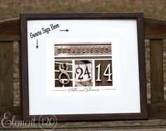 We could probably make this ourselves.  Personalized Wedding Guest Book - Wedding Date Number photography art in Brown frame
