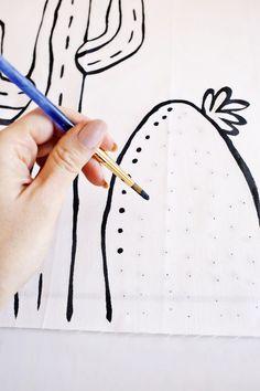 Cactus Outline Pillow DIY | A Beautiful Mess | Bloglovin'