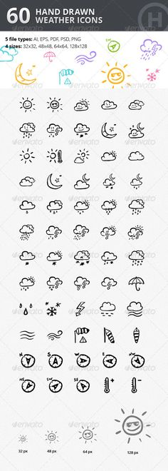 60 Hand-drawn Weather Icons #icons #weather #cute #handdrawn