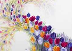 Painting «Tulips in the storm» by Nadine Lière, Acrylic on canvas board, 70 x 50 cm, 2014, grenadine-art.eu
