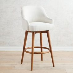Bennie Ivory Swivel Bar & Counter Stools with Java Wood Counter Stools With Backs, Swivel Counter Stools, Counter Height Bar Stools, Bar Counter, Cream Bar Stools, White Bar Stools, Wood Bar Stools, Cheap Dining Room Chairs, Accent Chairs For Living Room
