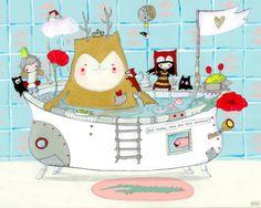 Illustrationen - Erst baden, dann... - ein Designerstück von Linnix bei DaWanda