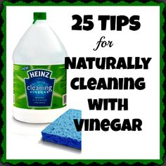 25 Tips for Naturally Cleaning with Vinegar (Includes short recipes)