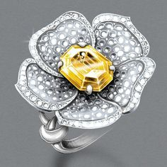 Yellow Diamond Floral Ring