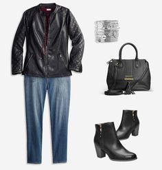 Shop for looks that fit your personal style like our plus size Edgy Effects outfit featuring Knit Side Faux Leather Jacket,Lace-Up Grommet Top and Pork Chop Pocket Jean available in sizes 14-32 online at avenue.com. Avenue Store