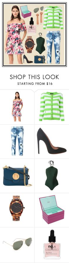 """""""Highly Recommend"""" by cate-jennifer ❤ liked on Polyvore featuring Black Halo, Boutique Moschino, Dsquared2, Alaïa, Osklen, Nixon, Ray-Ban, ncLA and Vanessa Mooney"""