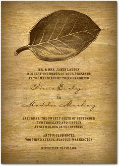 Wooden Wonder - Signature White Wedding Invitations - Picturebook - Truffle - Brown : Front