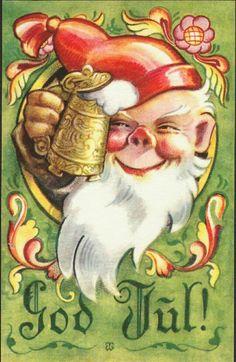 Julekort Wiborg. Nisse m/øl. Utg Damm T.W.