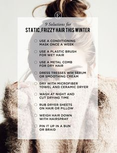 9 Solutions for Static, Frizzy Hair This Winter - The Everygirl Winter Beauty Tips, Beauty Tips For Skin, Beauty Hacks, Hair Beauty, Skin Tips, Beauty Ideas, Dress Hairstyles, Winter Hairstyles, Frizzy Hair Tips