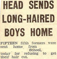 'Head sends long-haired boys home´, published in unknown local newspaper, 26 November 1971. Hull University Archives ref DCL/580/10   This image is licensed under Creative Commons BY NC SA