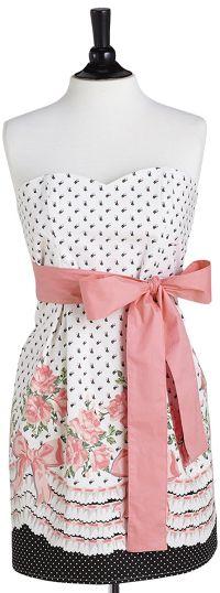 White Bows & Roses Strapless Apron