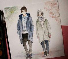 Cute Couple Cartoon, Cute Cartoon, Muslim Family, Muslim Couples, Sarra Art, Hijab Drawing, Islamic Cartoon, Anime Muslim, Hijab Cartoon