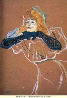"""Henri de Toulouse-Lautrec. Yvette Guilbert Singing """"Linger, Longer, Loo"""". Olga's Gallery."""