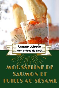 Salmon mousseline and sesame tiles , French Food, Finger Foods, Entrees, Salmon, Vegetables, Tiles, Drink, Boutique, Cuisine