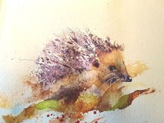 Seven steps to painting a hedgehog – watercolours by rachel Watercolor Bird, Watercolor Paintings Of Animals, Watercolor Painting Techniques, Watercolour Tutorials, Cool Paintings, Animal Paintings, Animal Drawings, Watercolor Portraits, Painting Tutorials