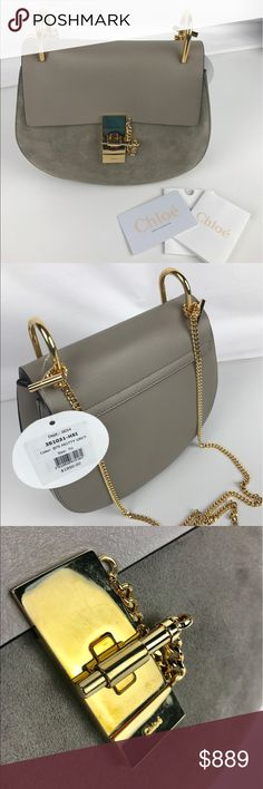 """Chloe Drew Calfskin Shoulder Bag Authentic. New, with Tags, Care Card and Reg Card. Pen mark on side and light scratches on hardware from handling- priced accordingly so you can get a professional cleaning.   The Drew bag offsets strong feminine elegance against sharp masculine appeal. Smooth calfskin, signature jewel lock. Internal flat pocket. 9.3"""" W x 8.3"""" H x 3.1"""" D, Strap 20.5"""". Style 3S1031-H5I. RB708  Thank you for your interest!  PLEASE - NO TRADES / NO LOW BALL OFFERS / NO OFFERS IN…"""