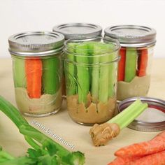Loving easy snack ideas like these veggie dipper jars with peanut butter and hummus! . @mindovermunch shares the best recipes to keep healthy eating fun and delicious! @mindovermunch @mindovermunch @mindovermunch