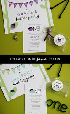 Free printable party set for a bug-themed first birthday party