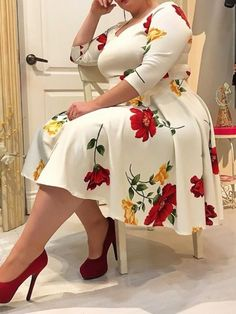 Plus Size Dress Women Floral Printed Half Sleeve V Neck Sexy White Midi Dress Robe A-Line Femme Office Lady Vestidos Women's A Line Dresses, Plus Size Dresses, Plus Size Outfits, Floral Dresses, Cheap Dresses, Plus Size Skater Dress, Work Dresses, Dresses Dresses, Party Dresses