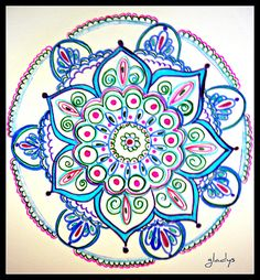 Blue Delicate Looking Flower  Mandala.  Drawing - Blue Flower Mandala by Gladys Childers