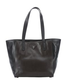 I love that this is black AND brown. Prada black and brown leather tote bag