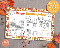While you are getting everything ready for Thanksgiving, why not keep the little ones busy with this kid's placemat, including a word search. These kid's activity pages from Indigo Ink Boutique are great Thanksgiving fun. Thanksgiving Placemats, Thanksgiving Activities For Kids, Kids Thanksgiving, Appreciation Thank You, Printable Letters, Party Activities, Thank You Gifts, Party Supplies, Word Search