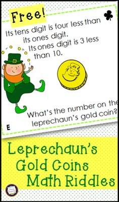 Here's a free and easy addition to your March math centers!  Your students will use clues about place value, operations, logic, and reasoning to determine the number on the leprechaun's gold coins. This set includes a recording page and answer key, making it a great choice for Read the Room! https://www.teacherspayteachers.com/Product/St-Patricks-Day-Riddles-for-Two-Digit-Numbers-1723464