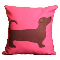 Doxie pink pillow