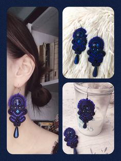 Soutache earrings rękodzieło navy blue