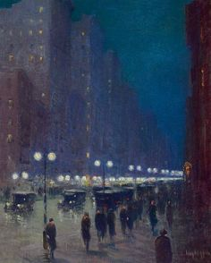 Lower Fifth Avenue at Night, Guy Wiggins. American Impressionist Painter (1883 - 1962)  *I love the feel and depth of this. I used to stare into a similar painting my grandmother owned when I was little, dreaming of what the conversations could be.