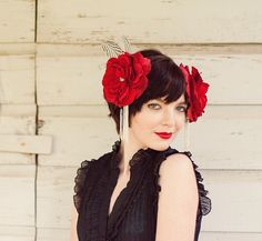 Red Feather Headress with Roses & Silver Pheasant by LaCocoRouge