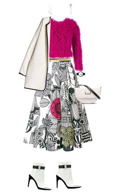 """""""So fresh nyfw floral skirt with magenta"""" by merryl-key on Polyvore featuring Off-White, Thakoon, Wandler, Rosendahl, Chopard, Love Rocks, Dries Van Noten and MANGO"""