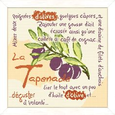 """Lilipoints - Provence """"La tapenade""""  202 x 197 points  P011 Types Of Embroidery, Kit, Cross Stitch Flowers, Le Point, Cross Stitching, Design, Cross Stitch, Home, Needlepoint"""